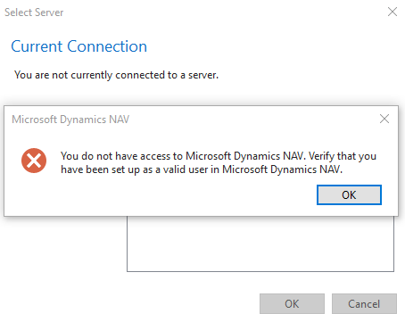 Error/Resolution: You Don't have Access to Microsoft Dynamics NAV